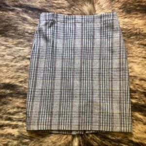 J. Crew The Pencil Skirt Wool Blend Gray Plaid Sz4